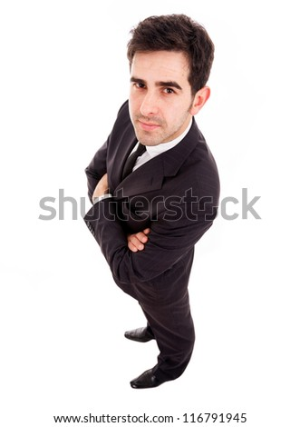 young business man full legth isolated on white background