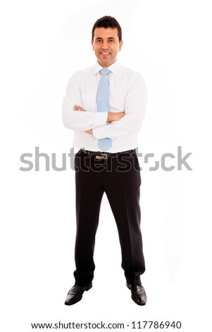 Young business man full length isolated on white background
