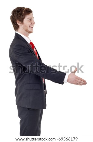 young business man handshaking, isolated on white background