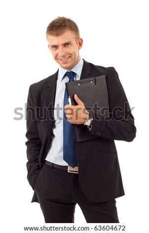 Young business man holding a  clip board over white background