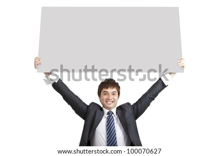 young business man holding empty board