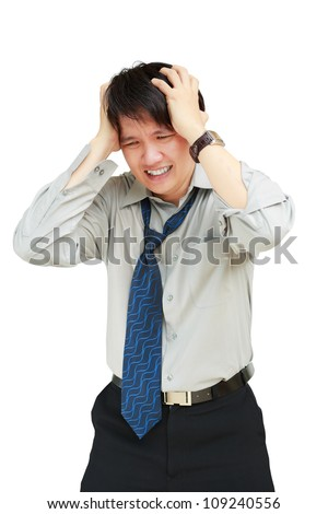 Young business man holding his head in pain against, Isolated on white