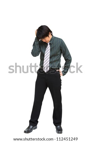 Young business man holding his head in pain against, Isolated on white background with clipping path