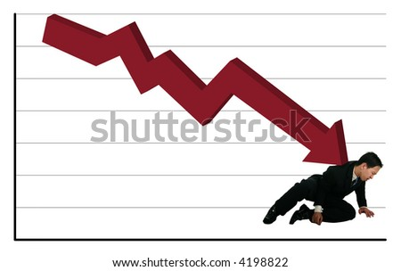 young business man hurt by falling stock chart