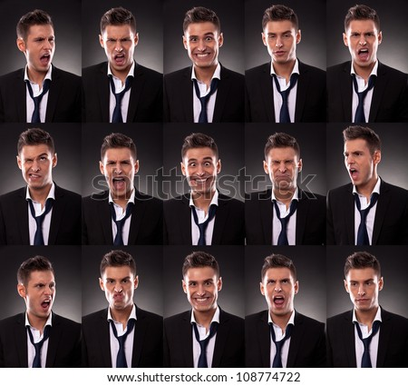 young business man in an arrangement of many funny faces on dark background