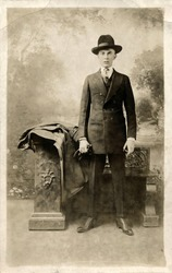 Young Business Man in Suit and Fedora Hat