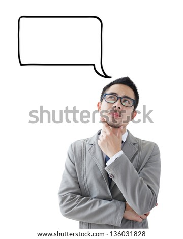 Young business man looking up graphic sketch style thoughts overhead