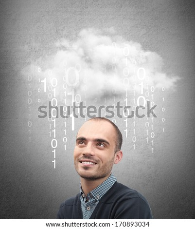 Young business man or system administrator under cloud with digital rain. Cloud technology concept - stock photo