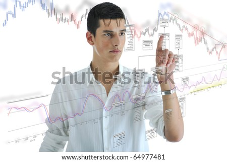 young business man planing and solving problems with illustrated graph disply screen for database and statistycs