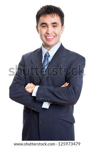 Young business man pointing to white background