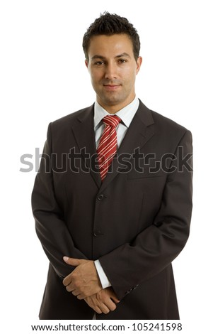 young business man portrait in white background