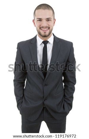 young business man portrait isolated on white - stock photo