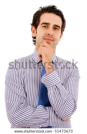 Young business man portrait, isolated on white - stock photo