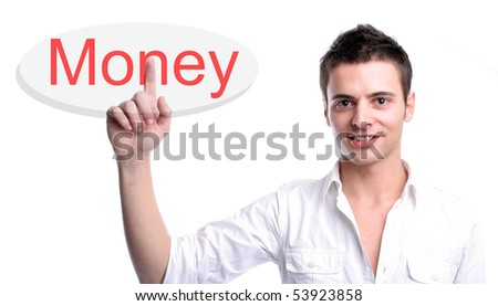 Young business man presses key, isolated over white