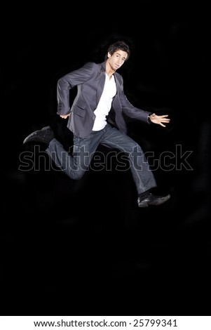 Young Business Man Running in the Air