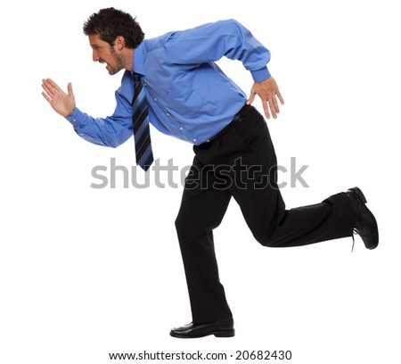 young business man running isolated on white