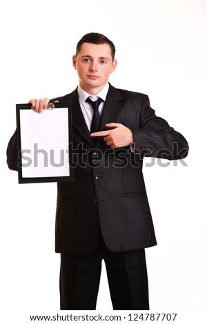 young business man showing blank clipboard, isolated on white background