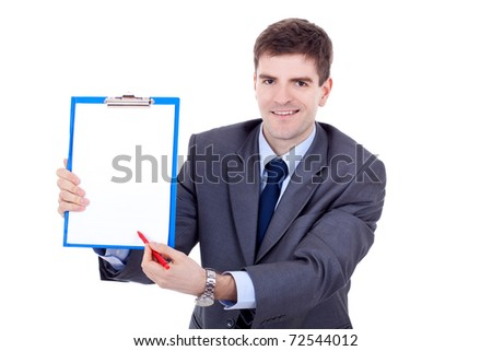 Young business man showing signboard, isolated on white background