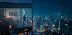 Young business man standing in the 3d rendering office watching the modern city night view, view from the outside. Business ambition concept.