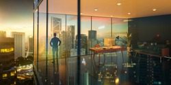 Young business man standing in the 3d rendering office watching the modern city sunrise view, view from the outside. Business ambition concept.