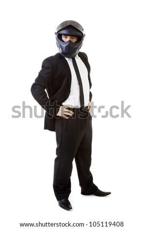 Young Business Man Suit Helmet Motorbike - stock photo