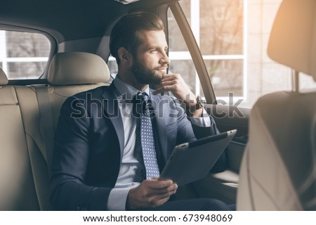Young business man test drive new car #673948069