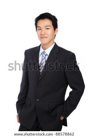 Young business man with confident smile on white isolated background