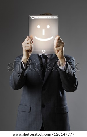 Young business man with happy face