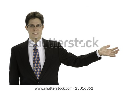 Young business man with his hand held out
