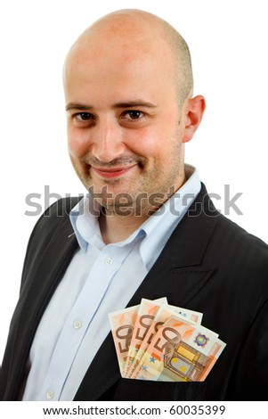 young business man with money, isolated on white background