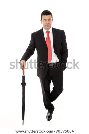 young business man with umbrella on white background