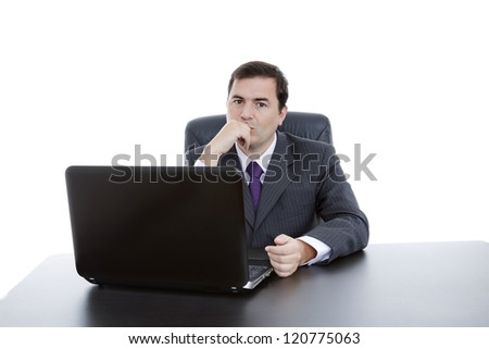 young business man working with is laptop, isolated