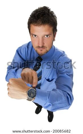 young business men pointing to watch close up