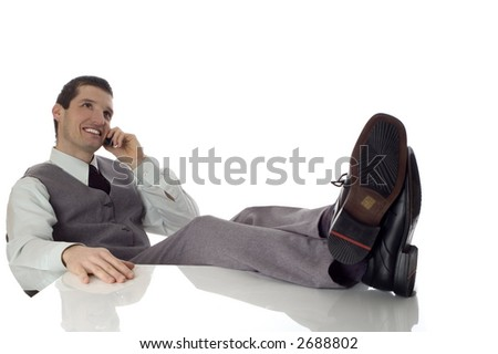 young business men sitting and talking on mobile phone