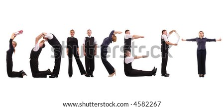Young business people forming concept word over white