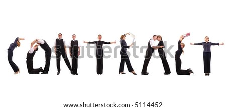Young Business People Forming Contract Word Over White Photo – Contract Word