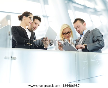 Young business people having conversation