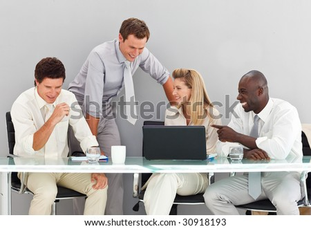 Young business people interacting in a meeting
