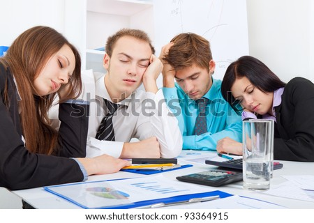 young business people sleeping resting on workplace, during work meeting, men and women relaxed sitting at office desk with closed eyes, concept of workout, exhausted businesspeople bored sleep, tired