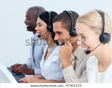 Young business people working in a call center in the office