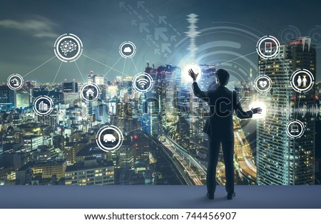 young business person and graphical user interface concept. Artificial Intelligence.  Internet of Things. Information Communication Technology. Smart City. digital transformation.