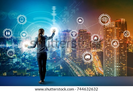 young business person and graphical user interface concept. Artificial Intelligence.  Internet of Things. Information Communication Technology. Smart City. digital transformation. #744632632
