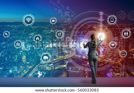 young business person and graphical user interface concept, Internet of Things, Information Communication Technology, Smart City, digital transformation, abstract image visual #560033083