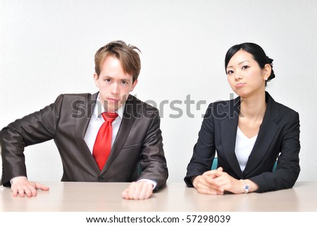 Young 2 Business Person Sitting On The Chair Stock Photo 57298039 ...