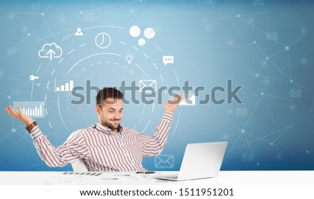 Young business person with operational system concept