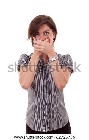 Young business woman covering her mouth with hands