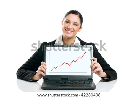 Young business woman displaying successful growing graph on her laptop isolated on white background