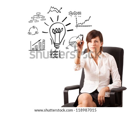 Young business woman drawing light bulb with various diagrams and charts on whiteboard isolated on white