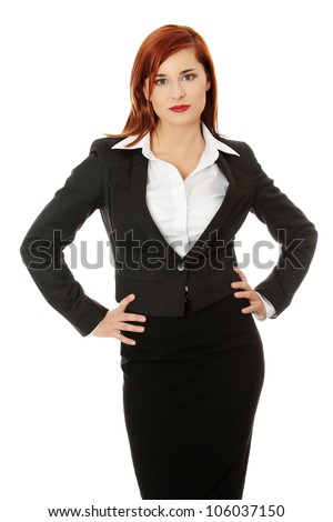 Black Shirt Dress on Young Business Woman Dress In Black Suit And White Shirt Is Standing
