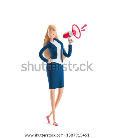 Young business woman Emma standing with a loudspeaker on a white background. 3d illustration